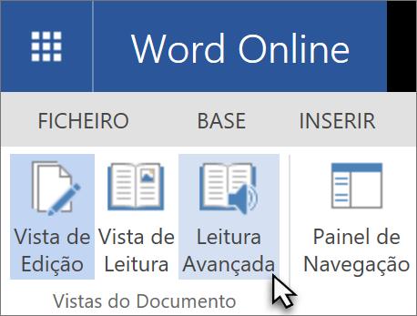 Abrir as ferramentas de formação no Word Online ao selecionar no separador Ver