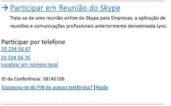 Interface do utilizador da opção Participar em Reunião do Skype