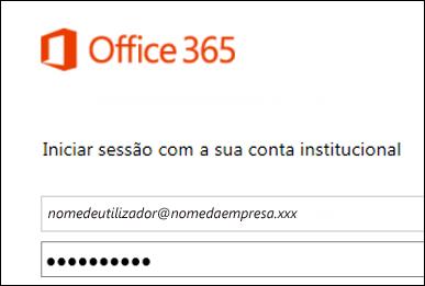 Ecrã de início de sessão do portal do Office 365