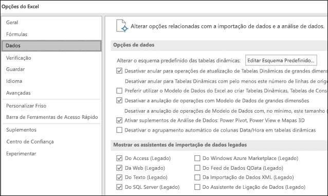 Opções de dados forem movidas a partir de ficheiro > Opções > Avançadas secção para um novo separador chamado dados em ficheiro > Opções.