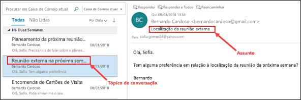 Outlook agrupa mensagens por tópico da conversação na lista de mensagens.