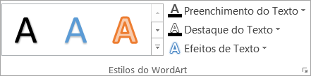 Grupo estilos do WordArt