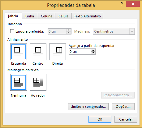 Separador da tabela na caixa de diálogo Propriedades da tabela