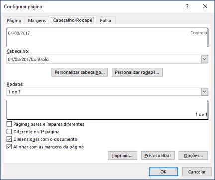 Opções de cabeçalho e rodapé de configuração de página >