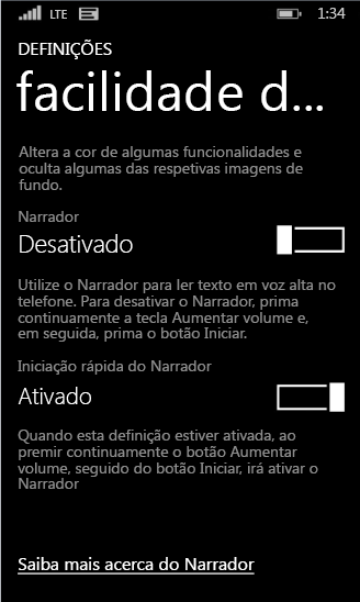 Definições do narrador do Windows Phone