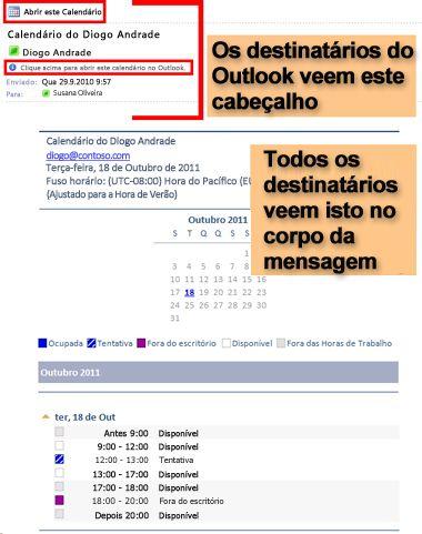 Exemplo de calendário recebido utilizando a funcionalidade de envio de calendário por correio eletrónico