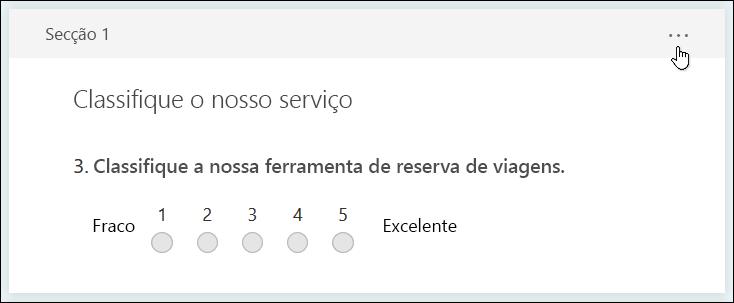Botão mais definições para a secção no Microsoft Forms