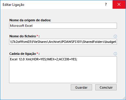 Editar a caixa de diálogo ligação para uma origem de dados do Excel