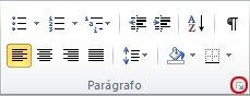 Iniciador da Caixa de Diálogo Parágrafo