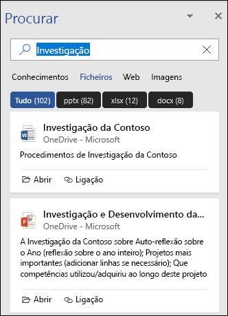O painel de pesquisa mostrando ficheiros que foram encontrados com uma pesquisa