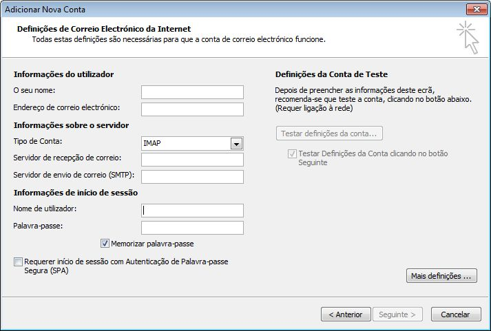 Definições de E-mail da Internet do Outlook 2010