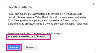 Google Gmail – caixa de diálogo importar contactos