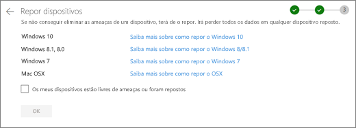 Captura de ecrã do ecrã de dispositivos resto no site do OneDrive