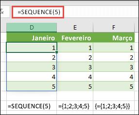 Criar uma constante de matriz vertical com = SEQUENCE (5) ou = {1; 2; 3; 4; 5}
