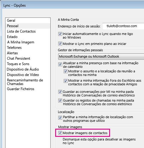 Captura de ecrã das Opções do Lync com Pessoal selecionado e Mostrar imagens de contactos