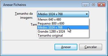 Opções para redimensionar anexos de imagem