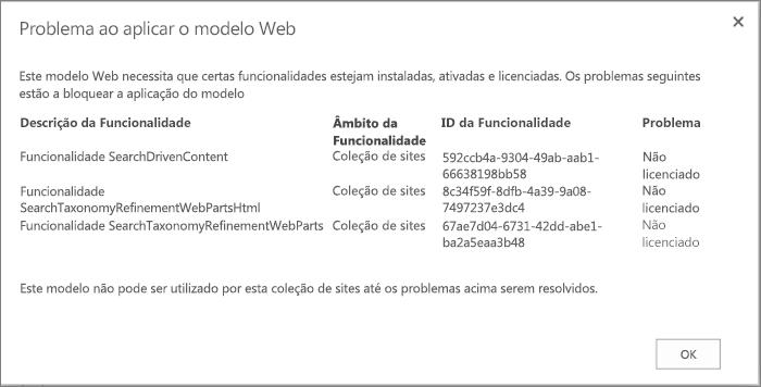 Captura de ecrã de uma mensagem de erro que mostra um erro que poderá obter se as funcionalidades indisponíveis impedirem a criação de sites no SharePoint Online.