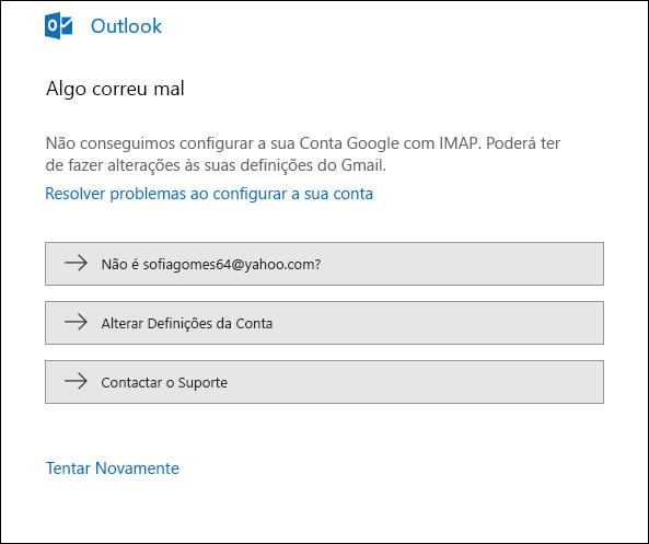Ocorreu um problema ao adicionar uma conta de e-mail ao Outlook.