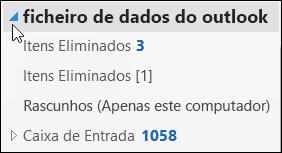 Para abrir o ficheiro de dados do Outlook, selecione a seta junto ao mesmo.