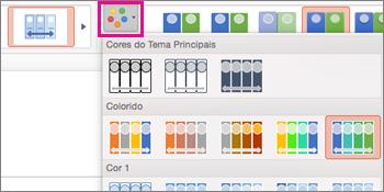 alterar o esquema de cores da linha cronológica