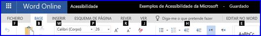 Friso na Vista de Edição do Word Online a mostrar as teclas de acesso