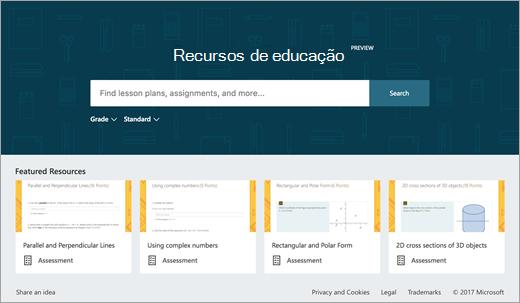 Ecrã principal de recursos de educação
