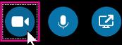 Clique aqui para ligar a sua câmara para que as outras pessoas o vejam durante uma reunião ou videochamada do Skype para Empresas. Este azul claro indica que a câmara não está ligada.