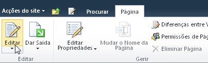 Comando Editar no separador Editar