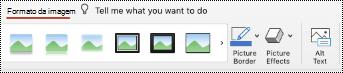 Botão texto alternativo no Ribbon para uma imagem no PowerPoint para Mac.