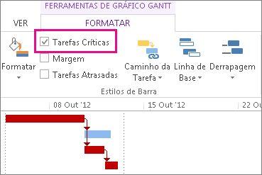 Caixa de verificação Tarefas Críticas no friso e barras Gantt realçadas no Project 2013