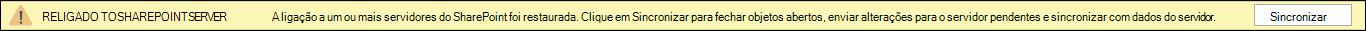Clique em sincronizar para restabelecer a ligação ao servidor do SharePoint.