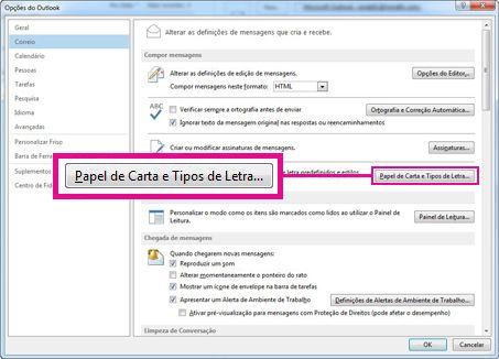 Comando Papel de Carta e Tipos de Letra na caixa de diálogo das Opções do Outlook