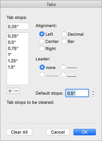 Caixa de diálogo do separador Mac