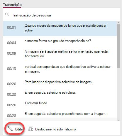 Selecione o botão Editar na parte inferior da janela do transcrição