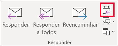 Numa mensagem de e-mail, selecione responder com reunião.