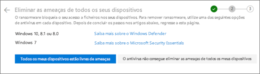 Captura de ecrã a mostrar o ecrã limpar todos os seus dispositivos no site do OneDrive