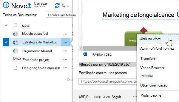 A opção abrir > abrir no menu da aplicação selecionada para um ficheiro do Word na vista clássica do portal do OneDrive online