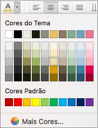 A selecionar uma cor do tipo de letra