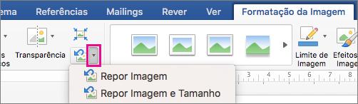 No separador formato da imagem, a caixa repor imagem está realçada