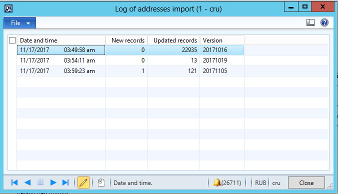 Import from FIAS - statistics log