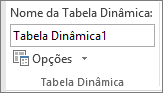 Opções da tabela dinâmica no Ribbon