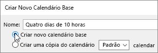 Criar novo calendário base