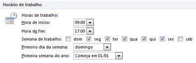 Secção Horário de Trabalho na caixa de diálogo Opções do Outlook
