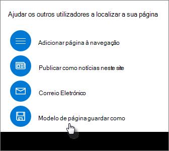Painel de promoção a mostrar o modelo de página guardar como