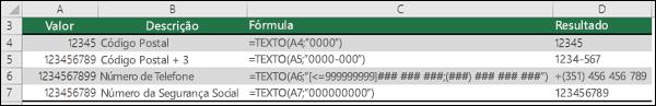 Formatos especiais para a função TEXTO