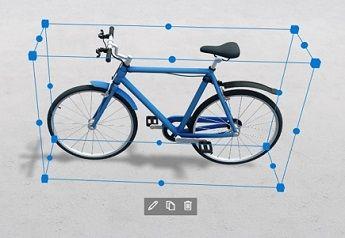 Parte Web de modelo 3D a mostrar uma bicicleta com ícones de edição, duplicação e eliminação