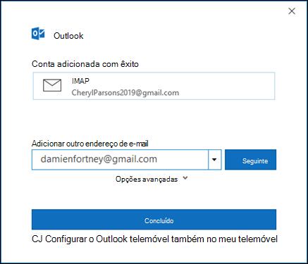 Selecione concluído para concluir a configuração da sua conta do gmail.