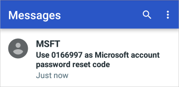 Exemplo de código de conta Microsoft