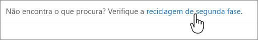 Ligação da reciclagem de segundo nível do SharePoint 2016