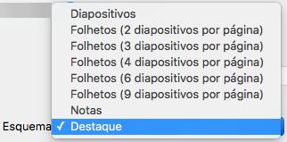 Selecione o esquema Destaques na caixa de diálogo Imprimir